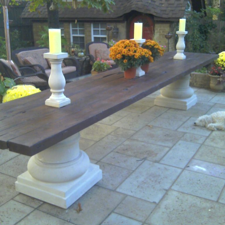 Custom design - wooden table with stone bases